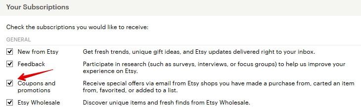 Согласие на получение рекламных писем от Etsy