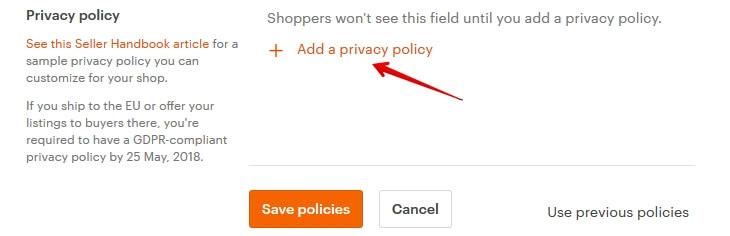 Редактировать Privacy Policy в Etsy магазине