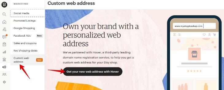 Регистрация домена со скидкой 50% на Этси