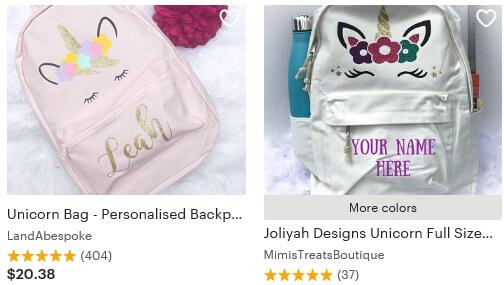 Unicorn backpack Etsy