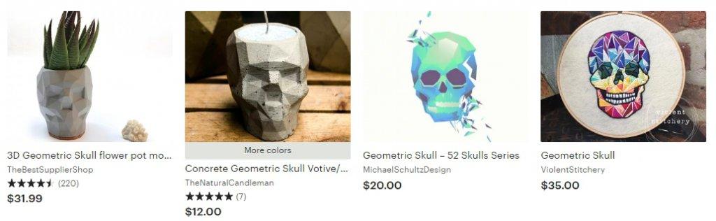 Анатомические и геометрические черепа-горшки для цветов Etsy