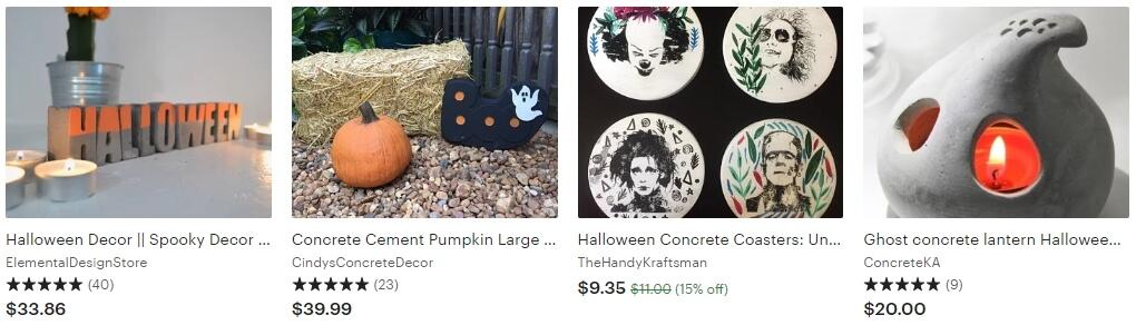 Изделия из бетона и металла на Этси - тренды Halloween Etsy