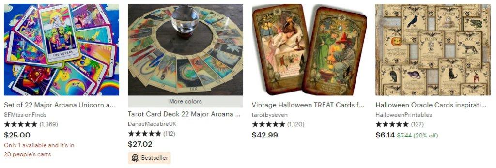 Карты Таро, ведьмы, магия - тренд на Etsy Halloween