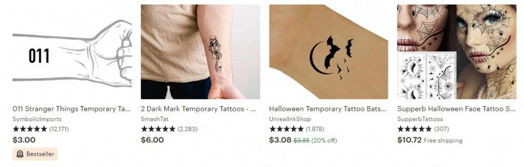 Временные тату как часть образа для Хэллоуина Etsy