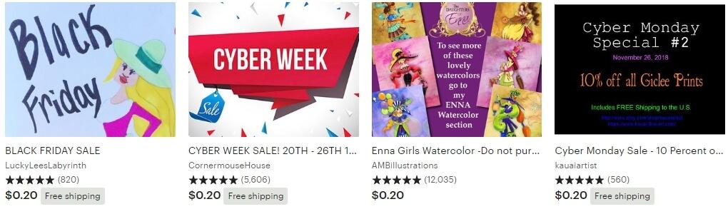 Cyber week Etsy - листинги баннеры