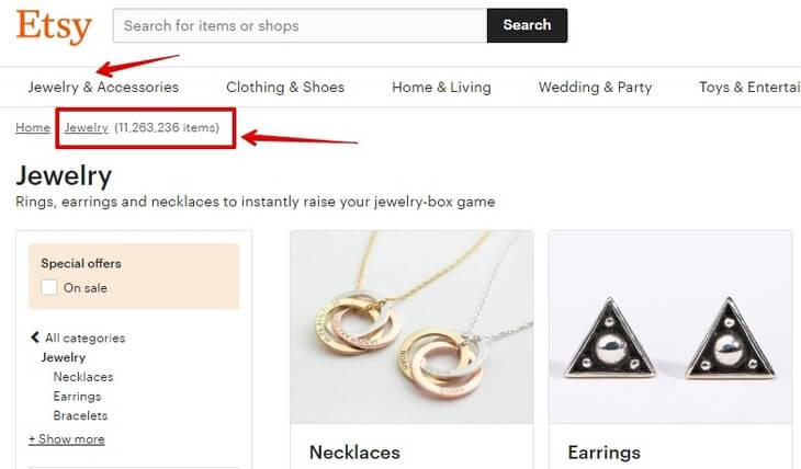 Сколько украшений продаётся на Etsy