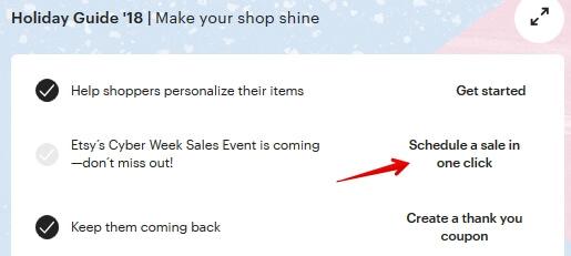 Создать распродажу на Чёрную пятницу Etsy