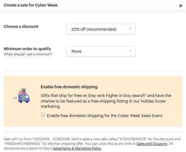 Создать распродажу на Etsy чёрная пятница