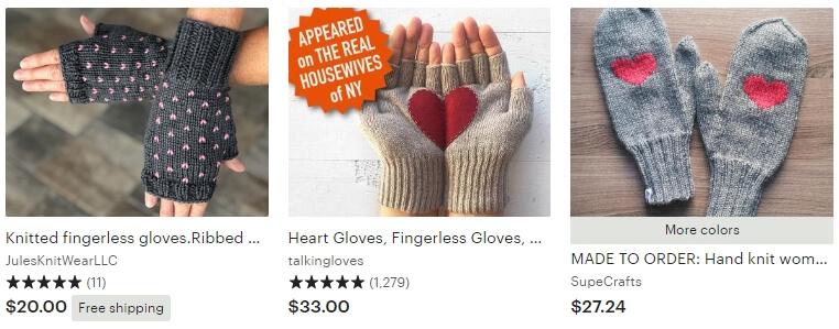 Valentines mittens _ Etsy