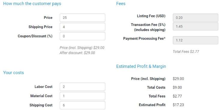 Etsy Fee and Profit Calculator - eRank