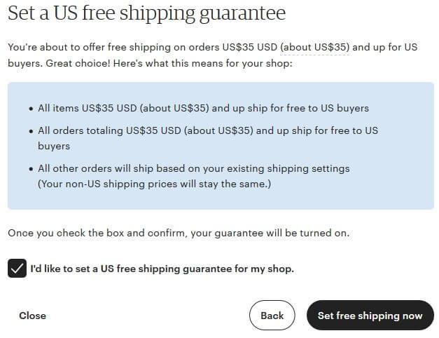 Etsy - включаем акцию бесплатной доставки в США