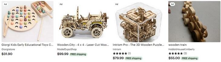 Wooden toys Etsy реклама