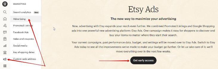 Как включить Etsy Ads
