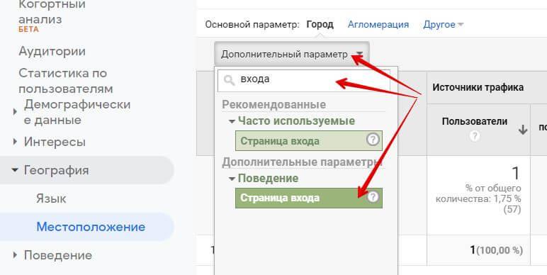 Страница входа посетителя в Google Аналитике