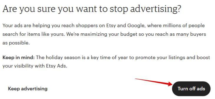 Выключить рекламу Etsy Ads