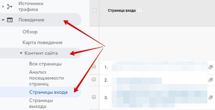 GoogleАналитика - Страницы входа в Etsy-магазин
