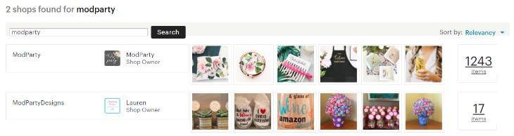 Поиск Etsy магазина по названию - результат