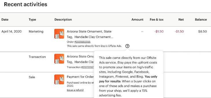 Как показывается комиссия Offsite Ads на Etsy