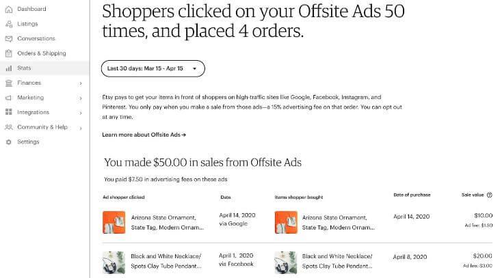 Как выглядит Offsite Ads на Etsy