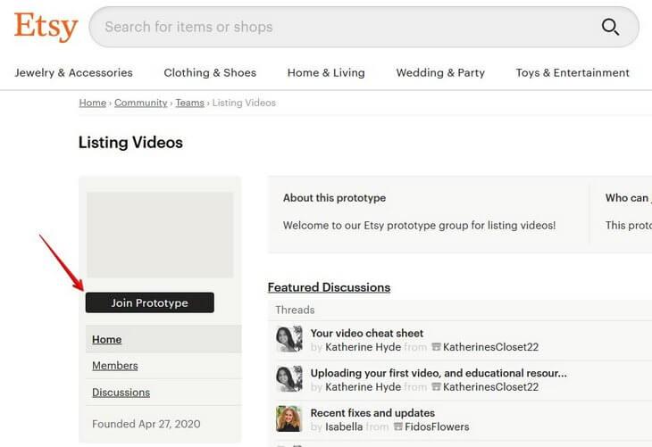 Join Prototype Etsy видео
