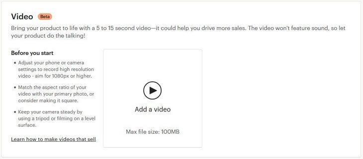 Загрузить видео в товар на Etsy