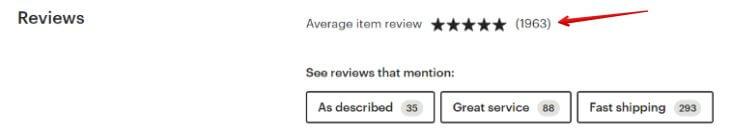 Сколько отзывов в Etsy магазине