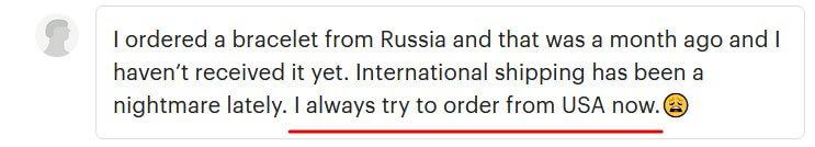 Сообщение клиента, которая предпочитает заказывать из США